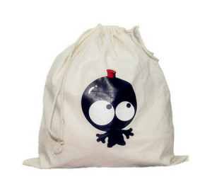 White drawstring backpack for students