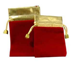Red drawstring velour bags gift pouches gold opening