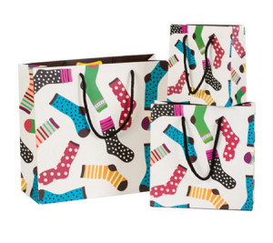 Sock print Paper Gift Bag Handles Recyclable Loot